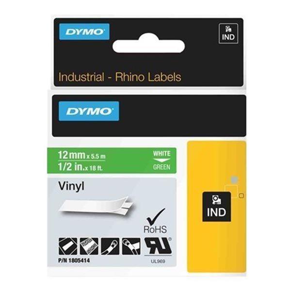 DYMO Rhino Professional. teippi 12mm valk.teksti vihr.teippi 5 5m