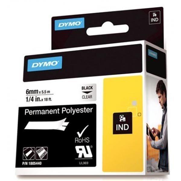 DYMO Rhino polyesteriteippi 6mm musta teksti läpinäk teippi 5 5m