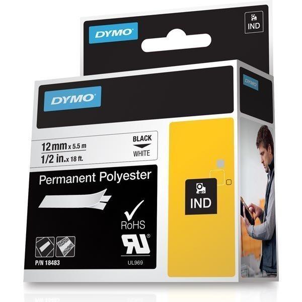 DYMO RhinoPRO pysyvä merkkausteippi polyesteri 12 mm valkoinen