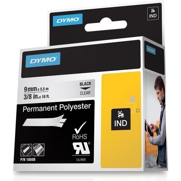 DYMO RhinoPRO pysyvä merkkausteippi polyesteri 9 mm läpinäkyvä