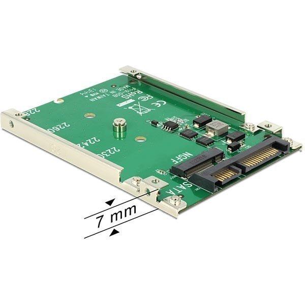 "DeLOCK M.2 SSD sovitin M.2 - SATA 22-pin 1x2 5 paikka 7mm korkea"""