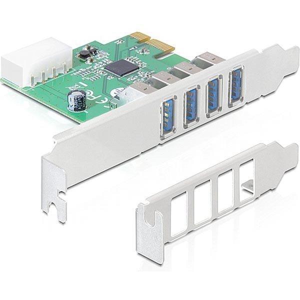 DeLOCK PCIe x1 kortti USB 3.0 4x tyyppi A porttia 2 ulkoista molex