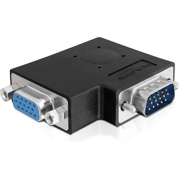 DeLOCK VGA-sovitin HD15 uros - HD15 naaras kulmaliitin musta