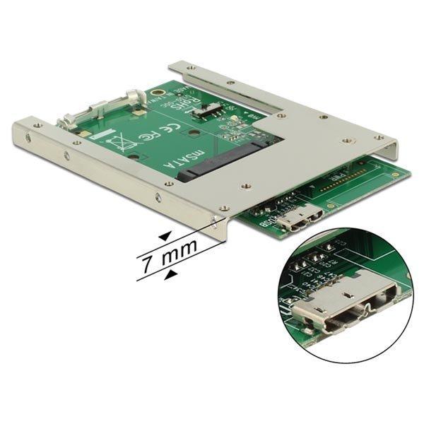 """DeLOCK mSATA SSD sovitin mSATA USB 3 0 Micro B na 2 5 7mm korkeus"""""""