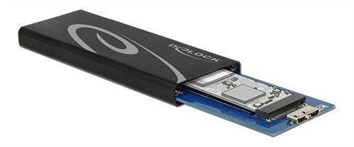 DeLOCK ulkoinen kotelo M.2 NGFF SSD levyille SATA 6Gb/s USB 3.1 Gen 2 musta