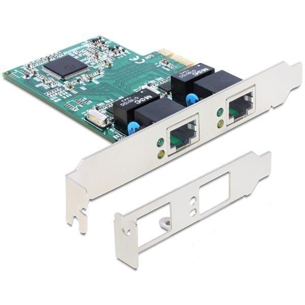 DeLOCK verkkokortti PCI-Express x1 GBLAN 2x RJ45