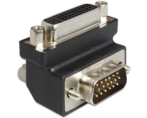 Delock Adapter Dvi 24+5 Female / Vga 15 Pin Male 90°angled 29-nastainen Yhdistelmä-dvi Naaras 15-nastainen Hd D-sub (hd-15) Uros