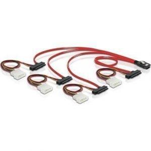 Delock Sisäinen Sas-kaapeli 36 Pin 4i Mini Multilane Sas (sff-8087) 4-nastainen Sisäinen Virta 29-nastainen Sisäinen Sas (sff-8482) Punainen 0.5m