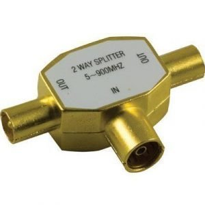 Deltaco Antenna Splitter 1 Female To 2 Male Guld 5-900mhz Antenniliitin Uros Antenniliitin Naaras
