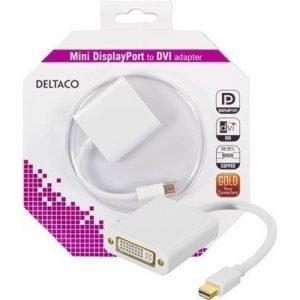 Deltaco Displayport-sovitin Mini Displayport Uros Dvi-i Dual Link Naaras Valkoinen 0.2m