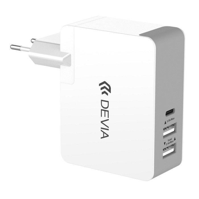 Devia USB-C + 2 x USB laturi mm. Macbook 12-tuumaiselle 5.4A