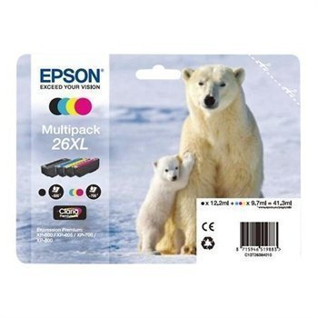 Epson 26XL Inkjet Cartridge Multipack Expression Premium XP 600 XP 605 XP 700 XP 800 Black Cyan Magenta Yellow