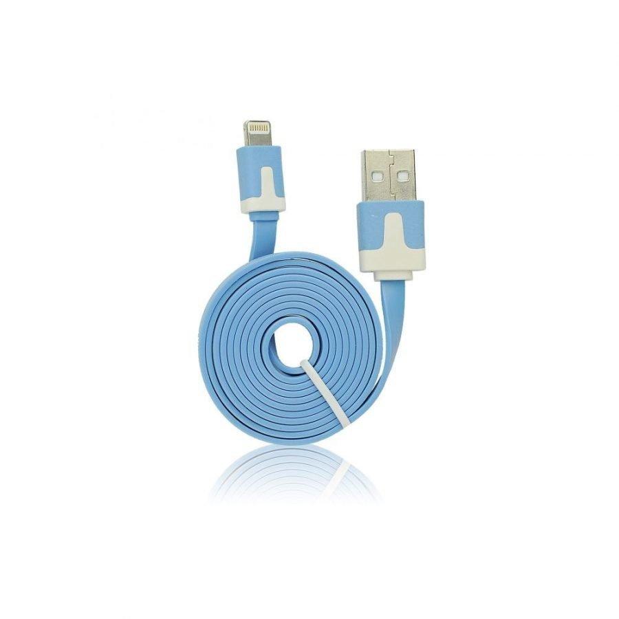 Forever Litteä USB Lightning lataus- ja synkronointikaapeli puhelimiin - Sininen