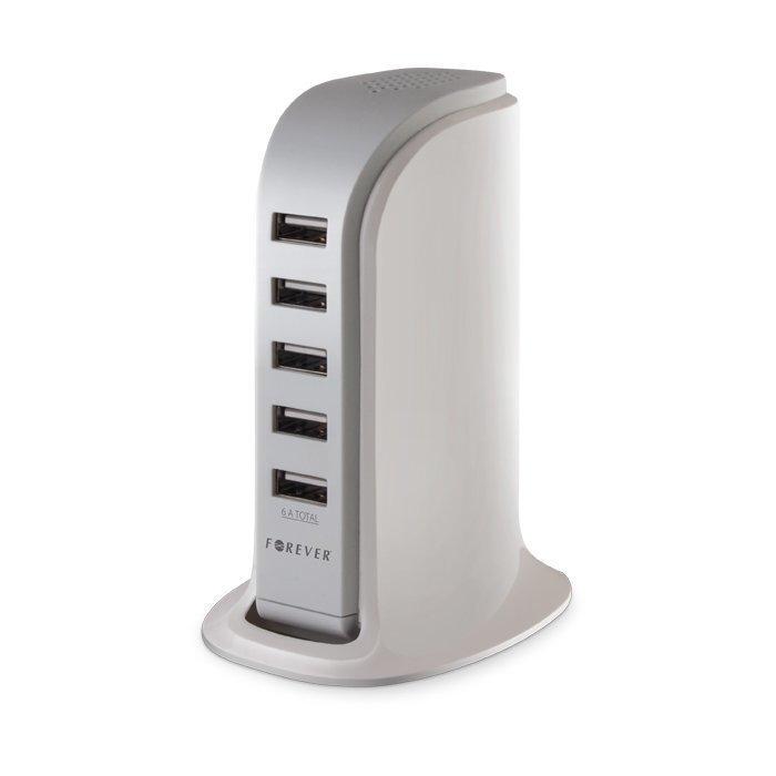 Forever USB Pöytälaturi 5 - porttia - 6 Amppeeria