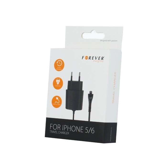Forever iPhone 5 / 6 / 7 Laturi Kiinteällä Lightning piuhalla