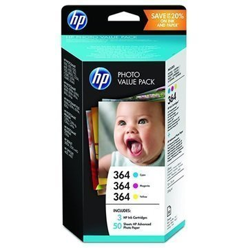HP 364 Photo Value Pack Ink Cartridge T9D88EE 3 Colours