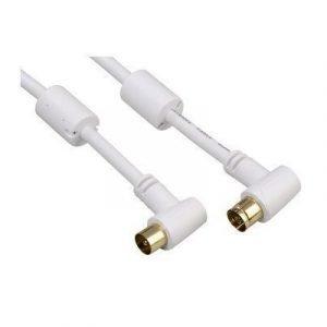 Hama Antenna Cable 95db Angled Antenniliitin Uros Antenniliitin Naaras Valkoinen 1.5m