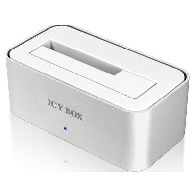 "ICY BOX USB3 suoratelakka 2 5 & 3 5"" SATA-levyille hopea"""