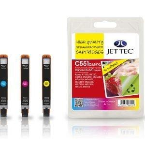 Jet Tec C551 Xl 3-Väri Mustekasetti 3 X 11 Ml