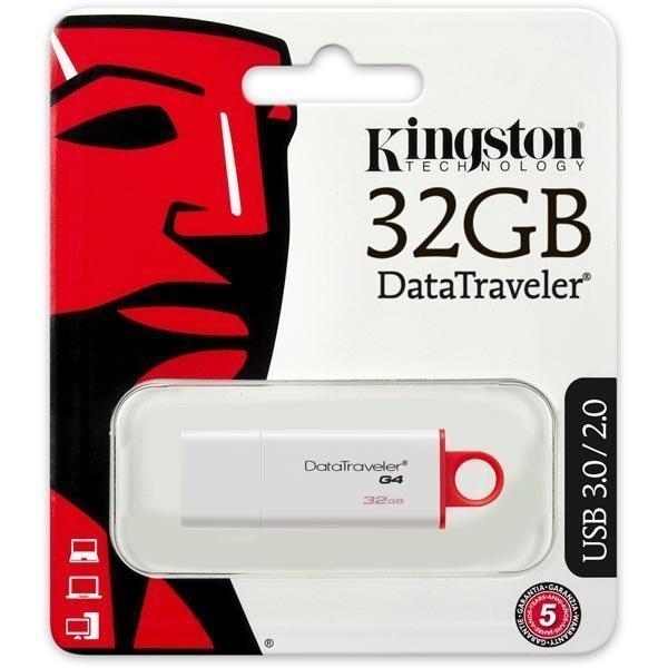 Kingston DataTraveler G4 USB 3.0 muisti 32GB valkoinen/punainen (DTIG4/32GB)
