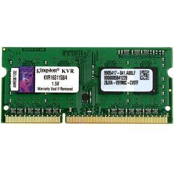 Kingston ValueRAM KVR16S11S8/4 1600MHz SO-DIMM DDR3 RAM Muisti 4GB