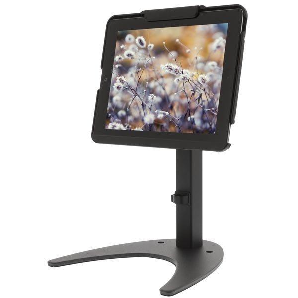 Lukittava pöytäteline iPad 2/3/4 laittaille vaijerilukko 2m musta