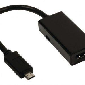 MHL-sovitinkaapeli USB 11-napainen Micro B uros - HDMI-lähtö + USB Micro B naaras 0 20 m musta