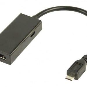 MHL-sovitinkaapeli USB 5-napainen Micro B uros - HDMI-lähtö + USB Micro B naaras 0 20 m musta