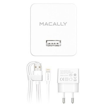Macally MHOMEL12-EU USB Lightning Matkalaturi iPhone iPad iPod Valkoinen