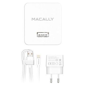 Macally MHOMEL12-EU USB Lightning Matkalaturi iPhone iPad iPod Valkoinen