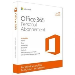 Microsoft Office 365 Personal Nor Subs 1yr Medialess