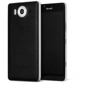 Mozo Leather Back Cover Microsoft Lumia 950 Black Microsoft Lumia 950 Musta