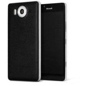 Mozo Leather Back Cover Microsoft Lumia 950 Black Microsoft Lumia 950 Musta