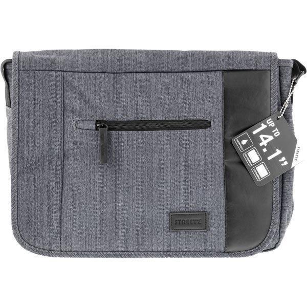 """STREETZ notebooklaukku max. 14 1 laitteelle vettä musta/harmaa"""""""