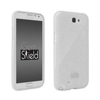 Samsung Galaxy Note 2 N7100 Kimaltava Beyond Cell Gem TPU suojakuori Valkoinen