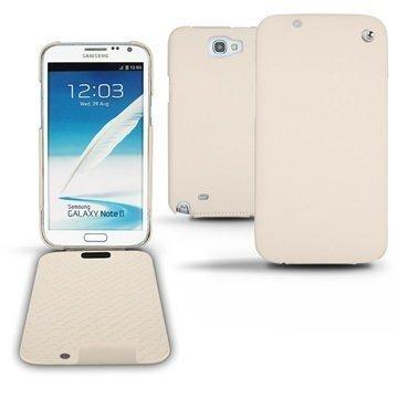 Samsung Galaxy Note 2 N7100 Noreve Tradition Läpällinen Nahkakotelo Beige