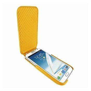 Samsung Galaxy Note 2 N7100 Piel Frama iMagnum Nahkakotelo Keltainen