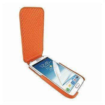 Samsung Galaxy Note 2 N7100 Piel Frama iMagnum Nahkakotelo Oranssi