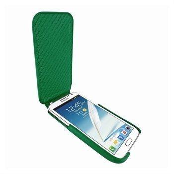 Samsung Galaxy Note 2 N7100 Piel Frama iMagnum Nahkakotelo Vihreä