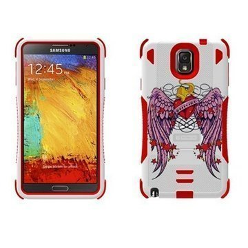Samsung Galaxy Note 3 N9000 N9005 Beyond Cell Tri Shield Hybrid Case Wing Heart