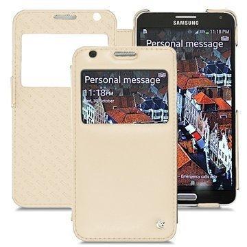 Samsung Galaxy Note 3 Noreve Tradition D Läpällinen Nahkakotelo Beige