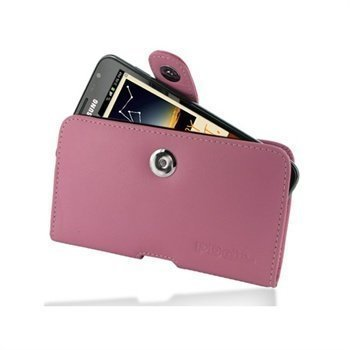 Samsung Galaxy Note N7000 PDair Horizontal Leather Case Vaaleanpunainen