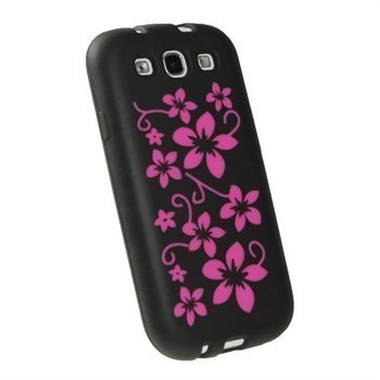 Samsung Galaxy S3 i9300 iGadgitz Flowers Silikonisuojus Musta / Pinkki