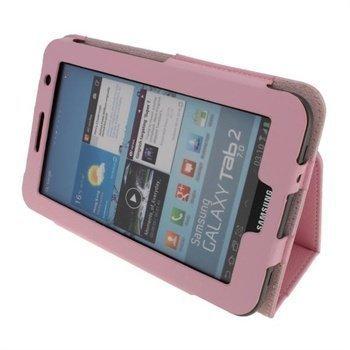 Samsung Galaxy Tab 2 P3100 P3110 iGadgitz Portfolio Nahkakotelo Vaaleanpunainen