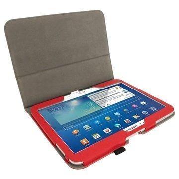 Samsung Galaxy Tab 3 10.1 P5200 P5210 iGadgitz Portfolio PU Leather Case Red