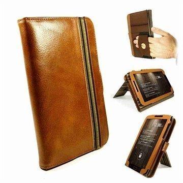 Samsung Galaxy Tab 3 7.0 P3200 P3210 Tuff-Luv Vintage Embrace Plus Nahkakotelo Ruskea