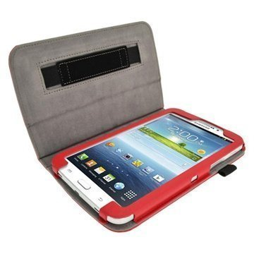 Samsung Galaxy Tab 3 7.0 P3200 P3210 iGadgitz Portfolio Leather Case Red