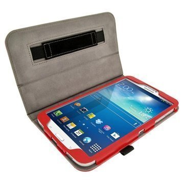 Samsung Galaxy Tab 3 8.0 iGadgitz Portfolio Nahkakotelo Punainen