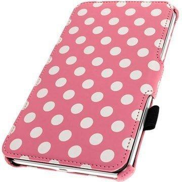 Samsung Galaxy Tab 4 8.0 iGadgitz Executive Leather Case Pinkki / Valkoinen
