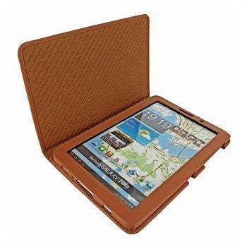 Samsung Galaxy Tab 7.7 P6800 Piel Frama Nahkakotelo Keltaisenruskea
